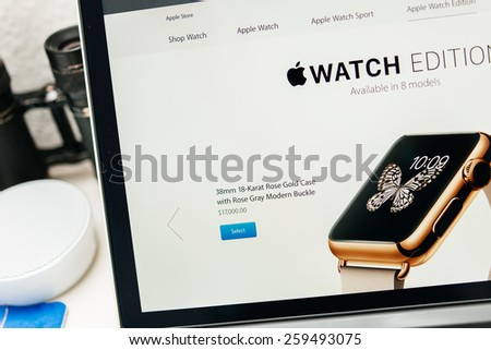 PARIS, FRANCE - MAR 10, 2015: Apple Computers website on MacBook Retina in room environment showcasing 17000 USD Apple Watin Edition as seen on 10 March, 2015 - stock photo