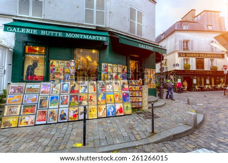 PARIS,FRANCE-MAR 15:The historic district of Montmartre where many artists had studios or worked, including Dali,Modigliani,Monet,Mondrian,Picasso and Van Gogh,  in March 15, 2015 in Paris,France - stock photo