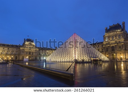 PARIS,FRANCE - MAR 15: The Louvre Museum is one of the world's largest museums and a historic monument and the world's most visited museum, in March 15, 2015 in Paris,France - stock photo