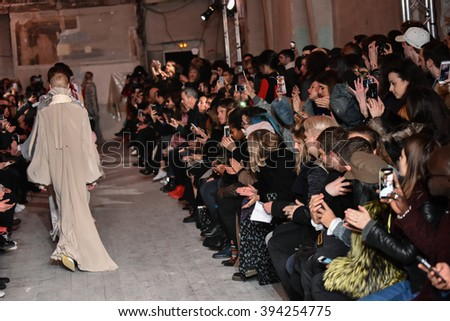 PARIS, FRANCE - MARCH 01: A general atmosphere and crowd at the runway during the Y/Project show as part of the Paris Fashion Week Womenswear Fall/Winter 2016/2017 on March 1, 2016 in Paris, France.