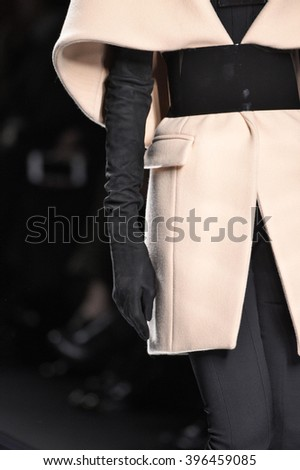 PARIS, FRANCE - MARCH 03: A model walks the runway (detail) during the Balmain show as part of the Paris Fashion Week Womenswear Fall/Winter 2016/2017 on March 3, 2016 in Paris, France.