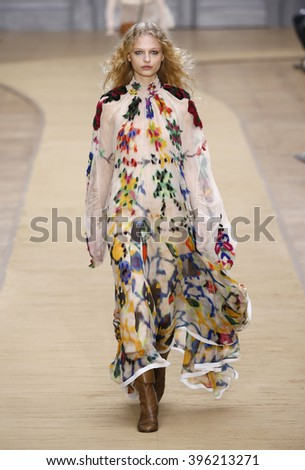 PARIS, FRANCE - MARCH 03: A model walks the runway during the Chloe show as part of the Paris Fashion Week Womenswear Fall/Winter 2016/2017 on March 3, 2016 in Paris, France.