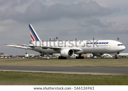 PARIS, FRANCE - MARCH 29: Air France Boeing 777-328/ER taxis around CDG Airport on March 29, 2010. Air France is the French flag carrier. - stock photo