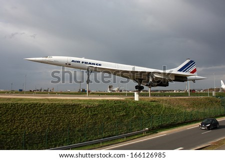 PARIS, FRANCE - MARCH 29: Airplane Concorde a supersonic passenger airliner with 144 seats, on display as a tourist attraction in Paris CDG Airport on March 29, 2010. - stock photo