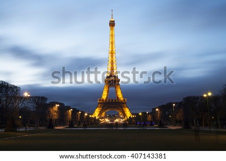 PARIS, FRANCE - MARCH 28, 2016: Beautiful view of illuminayed Eiffel tower at dusk, Paris, France - stock photo