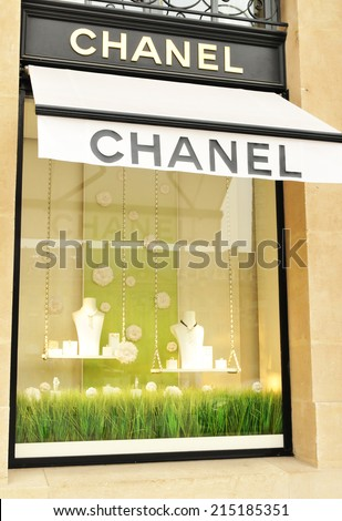 PARIS, FRANCE - MARCH 30, 2011: Detail of Chanel shop on Champs-Elysees in Paris
