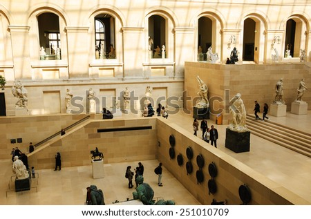 PARIS, FRANCE - MARCH 2, 2014: In the sculpture hall of the Louvre museum. Louvre is the most-visited museum in the world. - stock photo