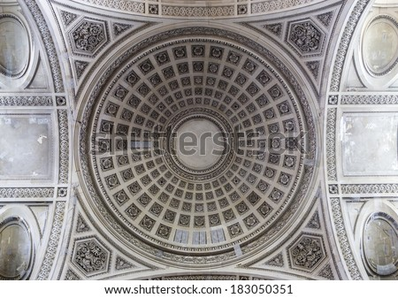 PARIS, FRANCE � MARCH  13, 2014: Interiors and architectural details of the Pantheon necropolis, built in 1757, in latin district,  March 13, 2014 in Paris, France.