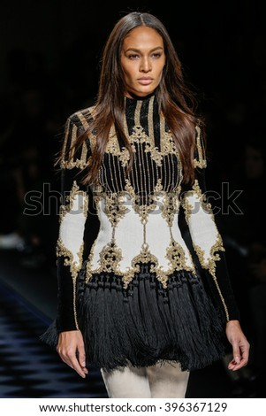 PARIS, FRANCE - MARCH 03: Joan Smalls walks the runway during the Balmain show as part of the Paris Fashion Week Womenswear Fall/Winter 2016/2017 on March 3, 2016 in Paris, France. - stock photo