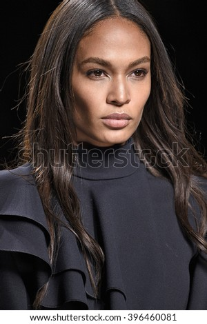 PARIS, FRANCE - MARCH 03: Joan Smalls walks the runway during the Balmain show as part of the Paris Fashion Week Womenswear Fall/Winter 2016/2017 on March 3, 2016 in Paris, France.