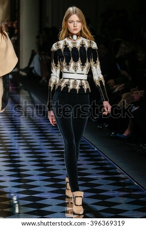 PARIS, FRANCE - MARCH 03: Katja Ledneva walks the runway during the Balmain show as part of the Paris Fashion Week Womenswear Fall/Winter 2016/2017 on March 3, 2016 in Paris, France.