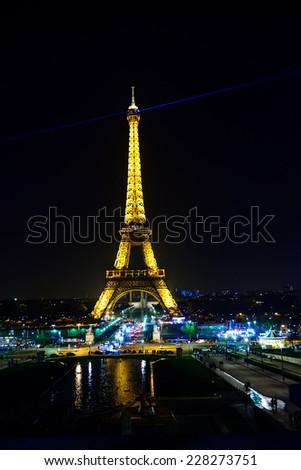 Paris, France - March 09, 2014: Lighting the Eiffel Tower - stock photo