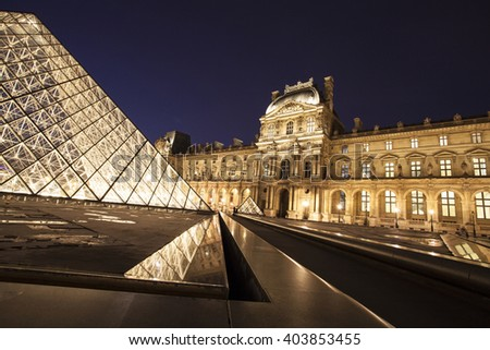 PARIS, FRANCE - MARCH 27, 2016: Louvre museum at twilight in spring. Louvre museum is one of the largest and most visited museums worldwide.year.