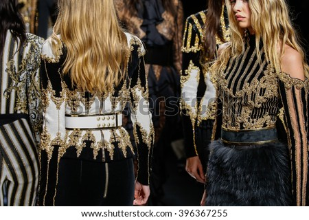 PARIS, FRANCE - MARCH 03: Models walk the runway during the Balmain show as part of the Paris Fashion Week Womenswear Fall/Winter 2016/2017 on March 3, 2016 in Paris, France. - stock photo
