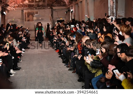 PARIS, FRANCE - MARCH 01: Models walks the runway during the Y/Project show as part of the Paris Fashion Week Womenswear Fall/Winter 2016/2017 on March 1, 2016 in Paris, France. - stock photo