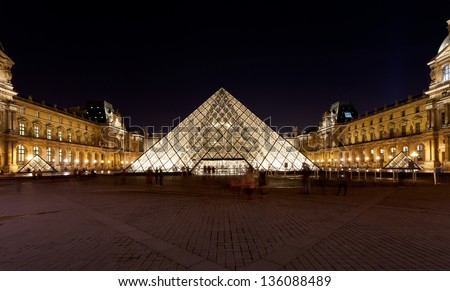 PARIS, FRANCE - MARCH 5: panorama of Louvre court. in 1983 architect I. M. Pei was awarded project and proposed glass pyramid to stand over a new entrance in the main court, in Paris on March 5, 2013