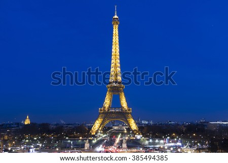 Paris, France-March 03, 2016: The Eiffel tower is a wrought lattice tower on the Champs de Mars in Paris.The tower is the tallest structure in Paris and the most visited monument in the world.