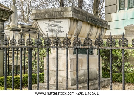 PARIS, FRANCE - MARCH 18, 2013: View of Pere Lachaise. World's most visited cemetery, attracting thousands of visitors to graves of those who have enhanced French life over past 200 years.