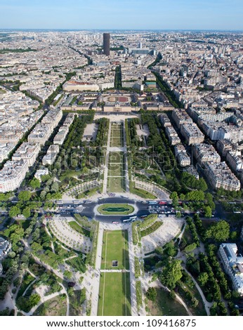 PARIS, FRANCE - MAY 28: Aerial view on Champ de Mars from the Eiffel tower on May 28, 2011, France. It`s a large and most popular public greenspace in Paris.