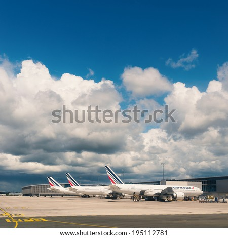 PARIS, FRANCE - MAY 13, 2014: Air France Jet airplanes at Charles de Gaulle airport. Air France is rated among the top 10 biggest airlines in the world and top 3 biggest airlines in Europe. - stock photo