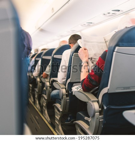 PARIS, FRANCE - MAY 13, 2014: Air France Jet airplanes interior view. Air France is rated among the top 10 biggest airlines in the world and top 3 biggest airlines in Europe. - stock photo