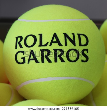 PARIS, FRANCE- MAY 28, 2015: Babolat Roland Garros tennis ball at Le Stade Roland Garros in Paris, France. Babolat is an Official Partner of the tournament and provides racquets, balls, strings - stock photo