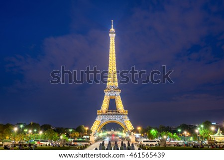 PARIS, FRANCE - May 8, 2016: Beautiful night scene of illuminated Eiffel Tower at dusk, Paris, France.