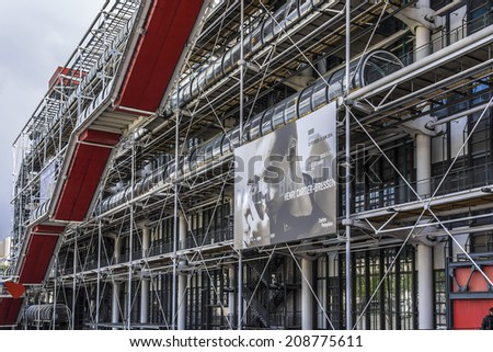 PARIS, FRANCE - MAY 13, 2014: Centre Georges Pompidou (1977) was designed in style of high-tech architecture. It houses library, National Art Modern museum and IRCAM.