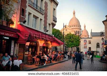 PARIS, FRANCE - MAY 13: City street view on May 13, 2015. With the population of 2M, Paris is the capital and most-populous city of France. - stock photo