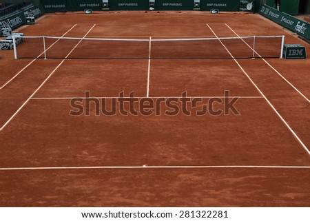 PARIS, FRANCE- MAY 23, 2015 Clay court ready for Roland Garros 2015 at Le Stade Roland Garros in Paris, France - stock photo