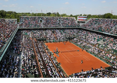 PARIS, FRANCE- MAY 27, 2015: Court Philippe Chatrier at Le Stade Roland Garros during Roland Garros 2015 match in Paris, France