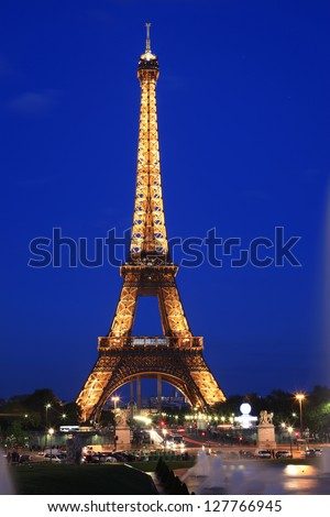 PARIS, FRANCE-MAY 12: Eiffel tower at night. The Eiffel tower is the most visited monument in Paris.