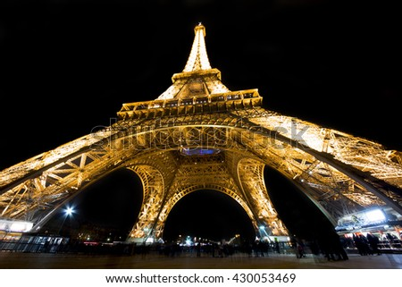 Paris, France 20 May 2015 Eiffel Tower illuminated at night. The Eiffel tower is the symbol of Paris visited by millions of tourists