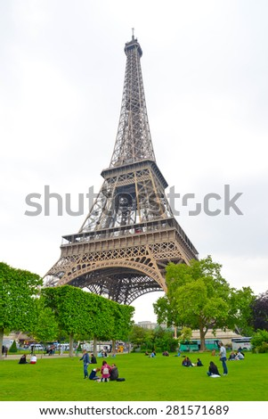 Paris, France - May 25, 2015: Eiffel tower - Paris - stock photo
