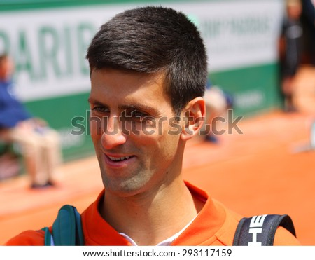 PARIS, FRANCE- MAY 30, 2015: Eight times Grand Slam champion Novak Djokovic after his third round match at Roland Garros 2015 in Paris, France - stock photo