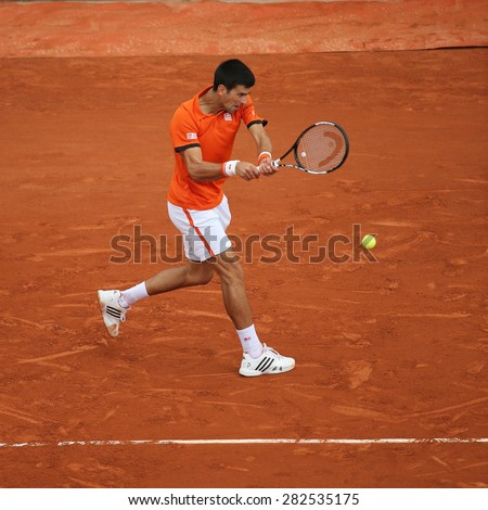 PARIS, FRANCE- MAY 28, 2015: Eight times Grand Slam champion  Novak Djokovic during second round match at Roland Garros 2015 in Paris, France - stock photo