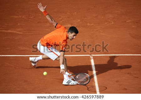 PARIS, FRANCE- MAY 28, 2015: Eight times Grand Slam champion Novak Djokovic during second round match at Roland Garros 2015 in Paris, France