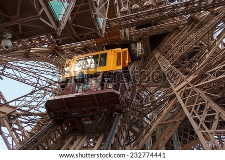 Paris, France - May 9, 2014: Elevator to the top of the Eiffel Tower. Paris, France. - stock photo