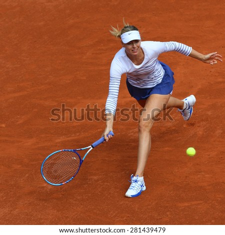 PARIS, FRANCE- MAY 25, 2015:Five times Grand Slam champion Maria Sharapova during first round match at Roland Garros 2015 in Paris, France