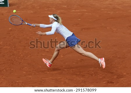 PARIS, FRANCE- MAY 29, 2015:Five times Grand Slam champion Maria Sharapova in action during her third round match at Roland Garros 2015 in Paris, France - stock photo