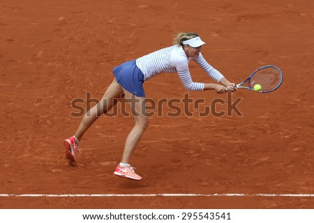 PARIS, FRANCE- MAY 29, 2015: Five times Grand Slam champion Maria Sharapova in action during her  third round match at Roland Garros 2015 in Paris, France