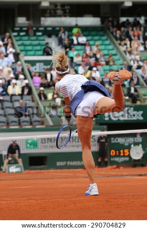 PARIS, FRANCE- MAY 29, 2015:Five times Grand Slam champion Maria Sharapova in action during third round match at Roland Garros 2015 in Paris, France