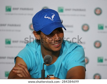 PARIS, FRANCE- MAY 30, 2015: Fourteen times Grand Slam champion Rafael Nadal during press conference after third round match at Roland Garros 2015 in Paris, France - stock photo