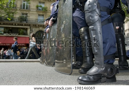 PARIS, FRANCE - MAY 20, 2014 - French policemen, CRS, in faction from anti riot forces in Paris - stock photo