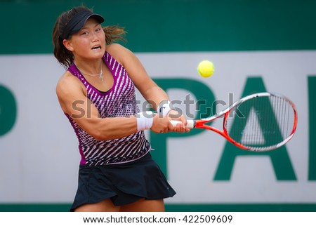 PARIS, FRANCE - MAY 18 : Grace Min in action during qualification at the 2016 French Open