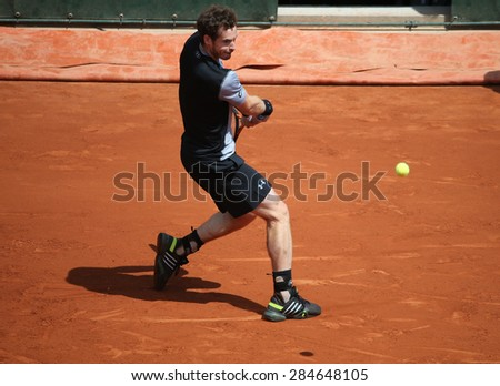 PARIS, FRANCE- MAY 30, 2015: Grand Slam champion Andy Murray during third round match at Roland Garros 2015 in Paris, France - stock photo