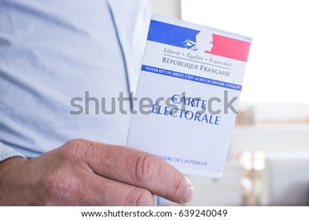PARIS, FRANCE - May 7,2017 / ILLUSTRATIVE EDITORIAL French electoral card, 2017 presidential and legislative elections concept