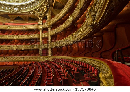 PARIS, FRANCE - MAY 21, 2014 : Inside the auditorium of the Opera Garnier - stock photo