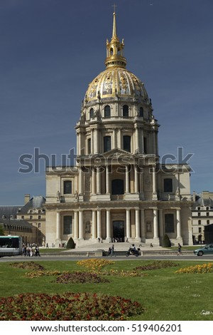 Paris, France-may 06, 2016: Les Invalides complex of museums and monuments in Paris, France. Les Invalides is the burial site for some of France's war heroes, notably Napoleon Bonaparte.