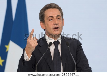 PARIS, FRANCE - MAY 30, 2015 : Nicolas Sarkozy during the founding congress of the Republican Party. - stock photo
